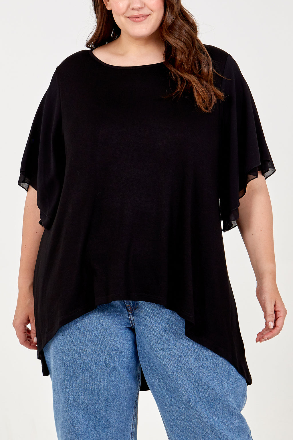 Curve High Low Frill Sleeve Top