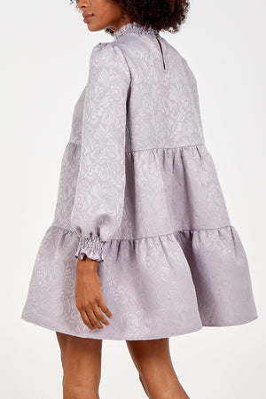 Shirring Smock Tiered Long Sleeve Dress