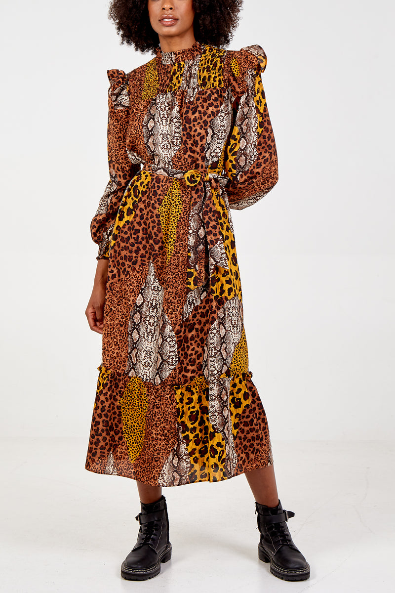 Mixed Animal Print Frill Neck Maxi Dress