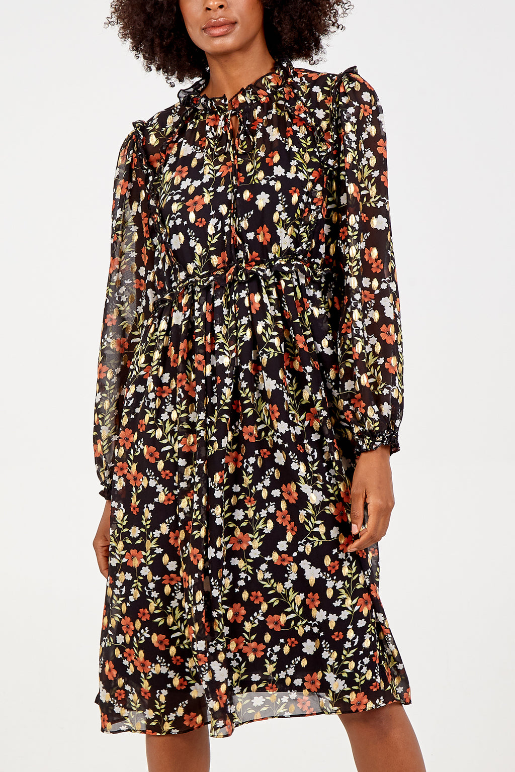 Floral Ruffle Tie Neck Midi Dress