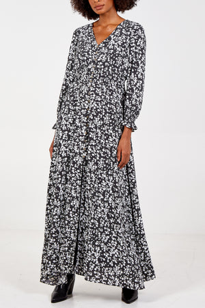 V Neck Maxi Dress With Buttons