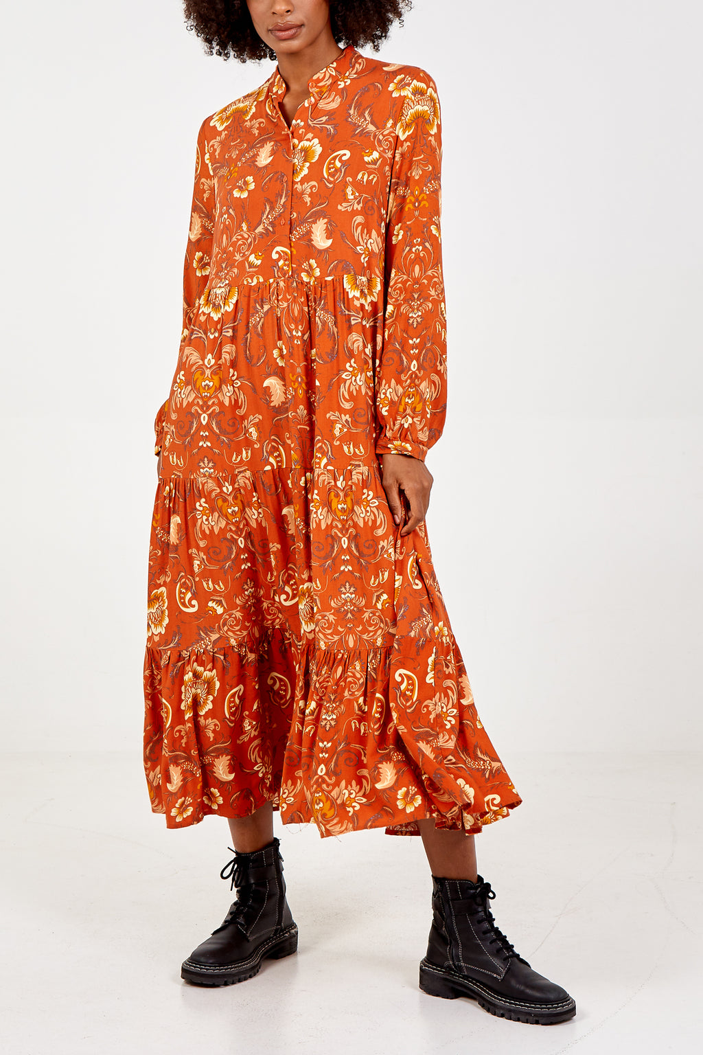 Button front Tiered Maxi Dress