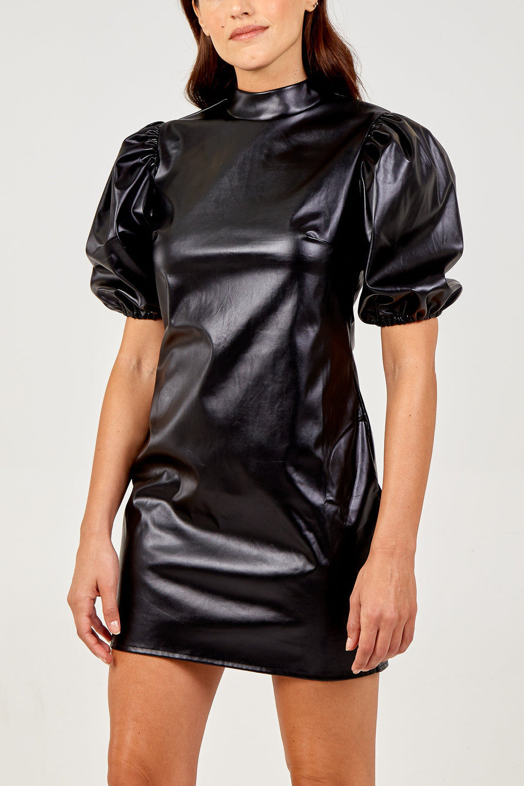 PU High Neck Balloon Sleeve Dress