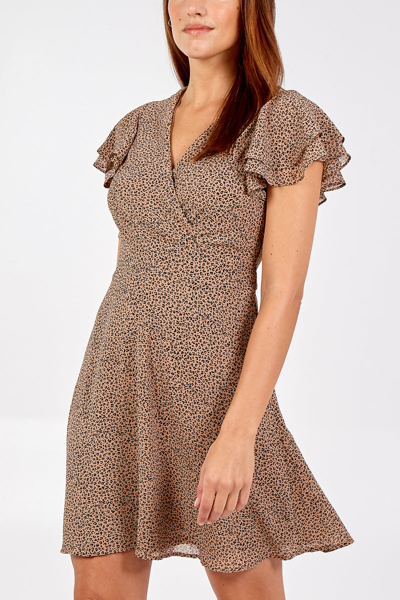 Mini Animal Print Wrap Front Frill Sleeve Dress