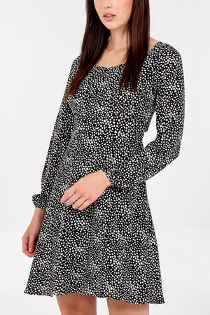 Abstract Spot Sweetheart Neckline Dress