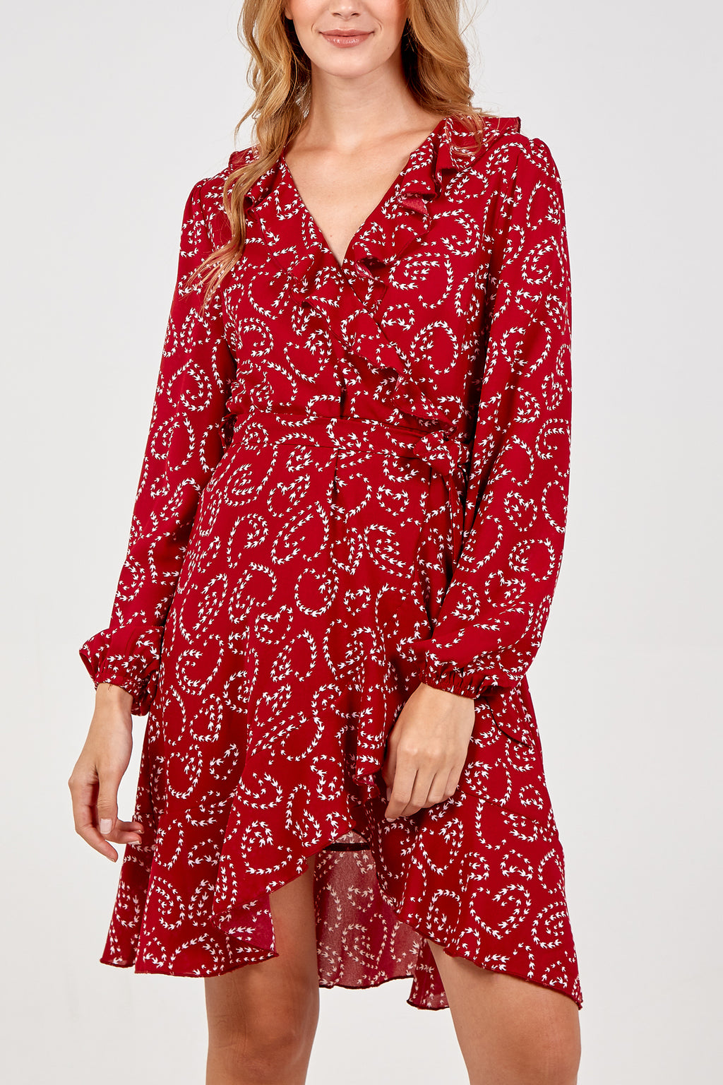 Bird Print Ruffle Wrap Dress
