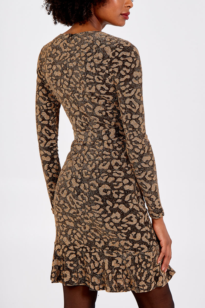 Gold Glitter Animal Print Wrap Front Dress