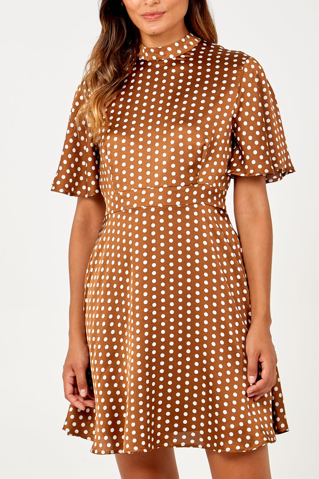Polka Dot print Angel Sleeve Fit & Flare Dress