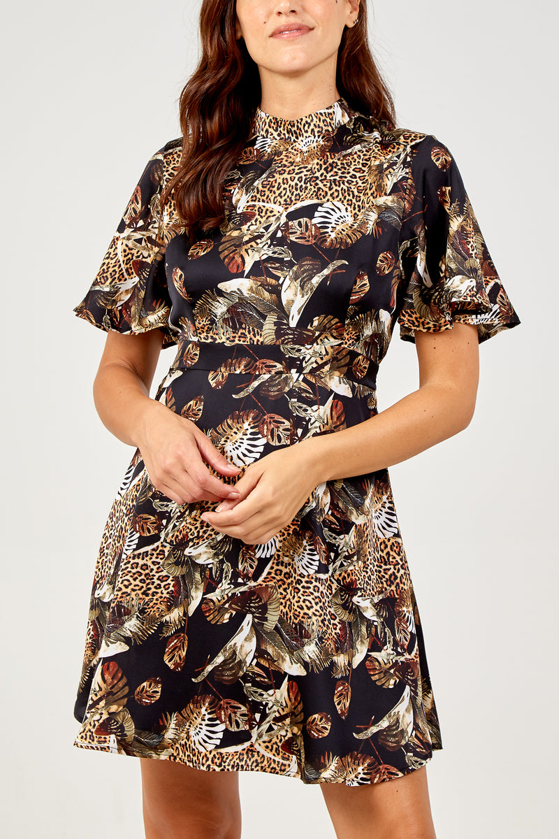 Oriental Mix Print Angel Sleeve Fit & Flare Dress