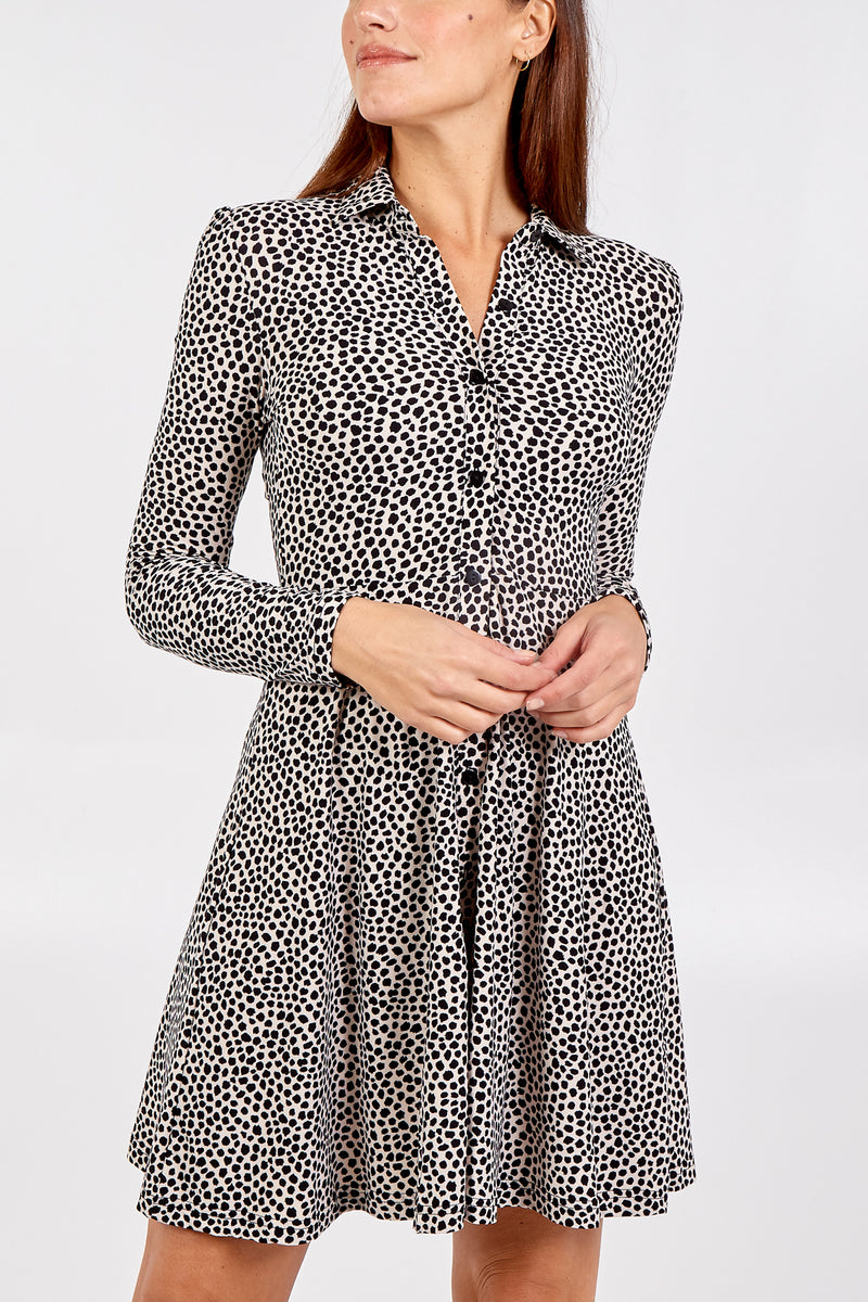 Appaloosa Print Collar Front Through Swing Dress