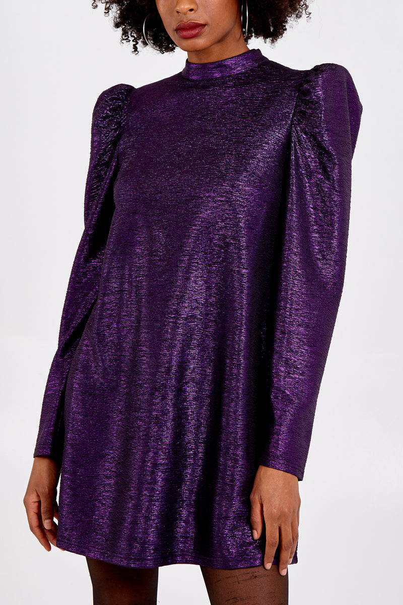 Puff Shoulder Metallic Swing Dress