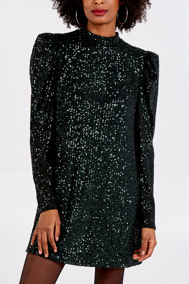 Puff Shoulder Sequin Swing Dress