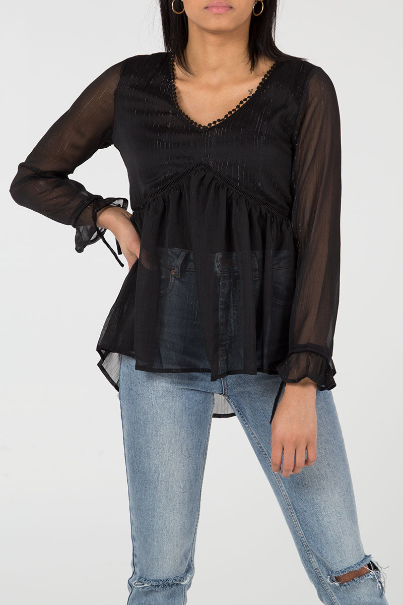 Transparent Open Work Low V Cut Top