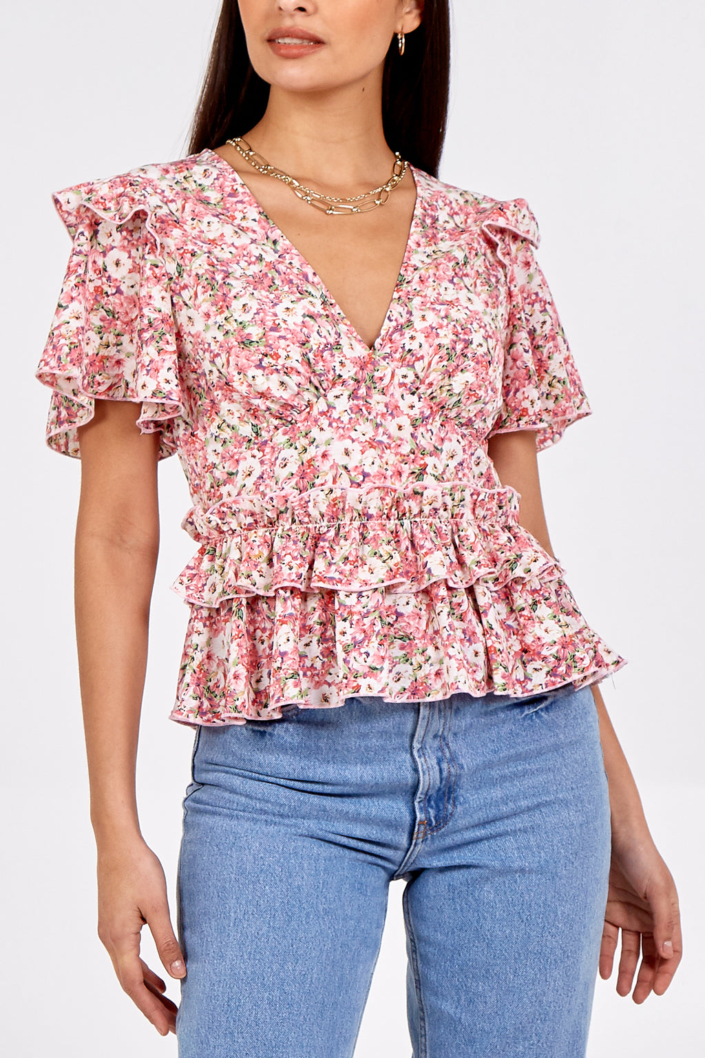 Frill Detail Floral Blouse
