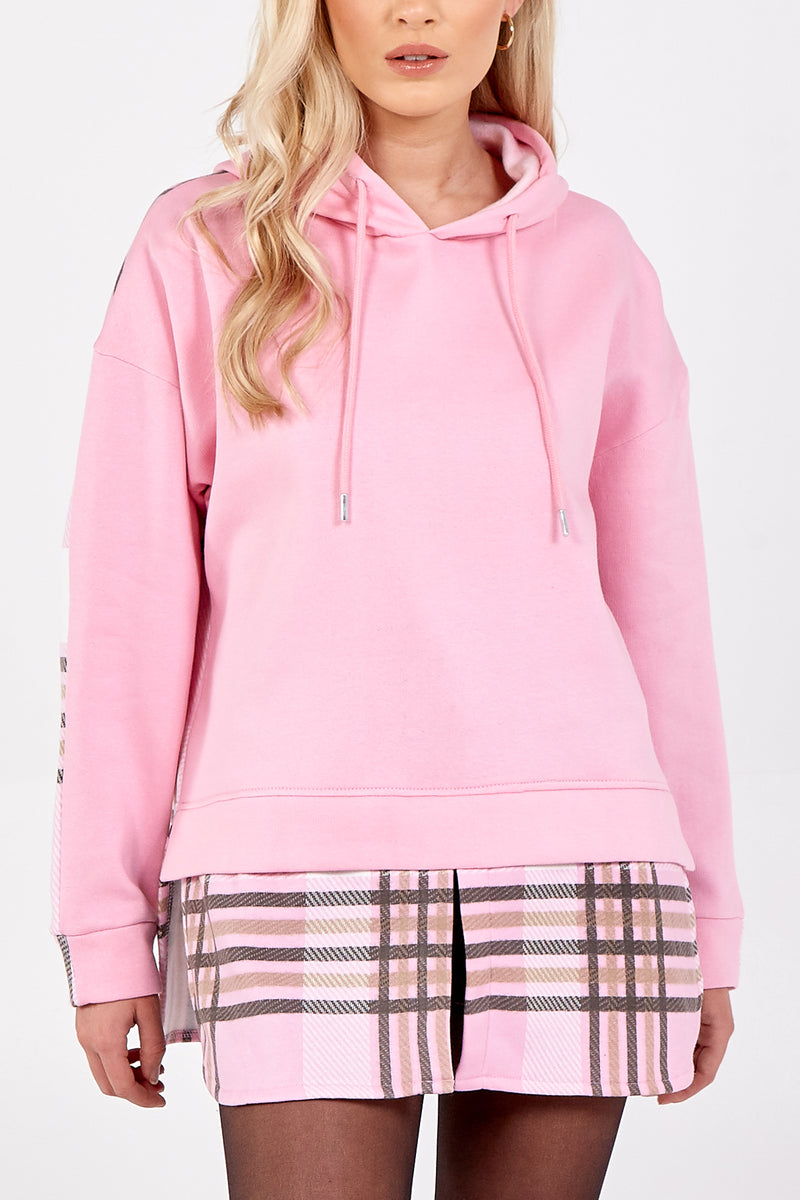 Check Hooded Fleece Shirt
