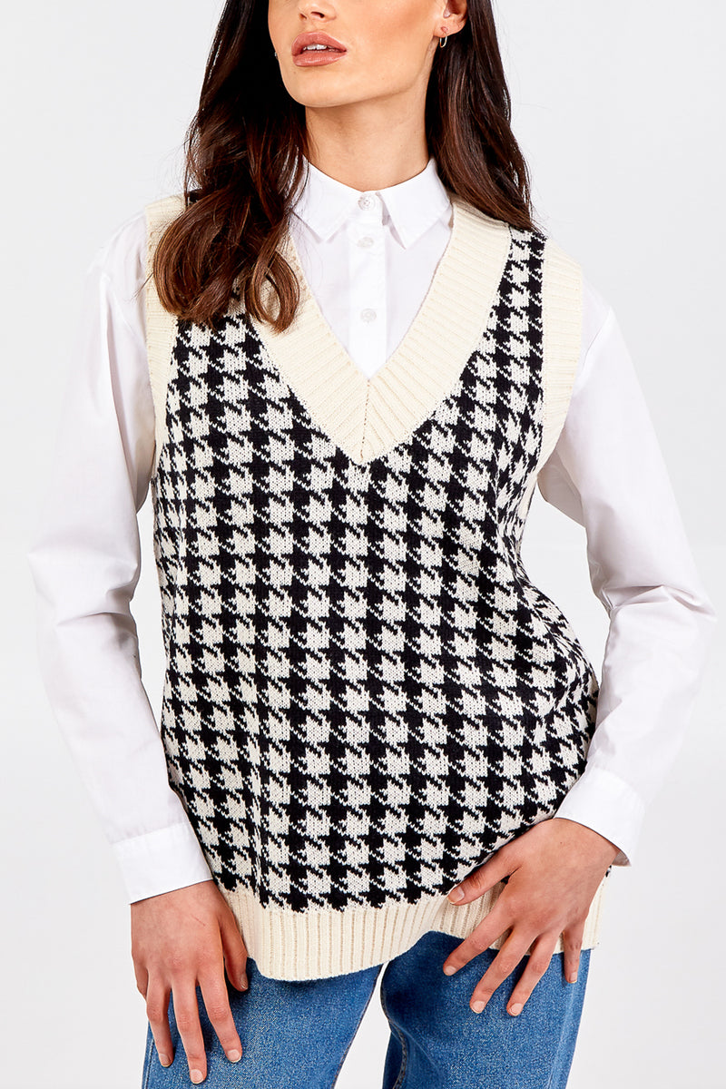 Dogtooth Knitted Vest