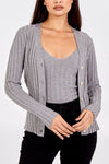 Ribbed Cardigan & Sleeveless Top Twin Set