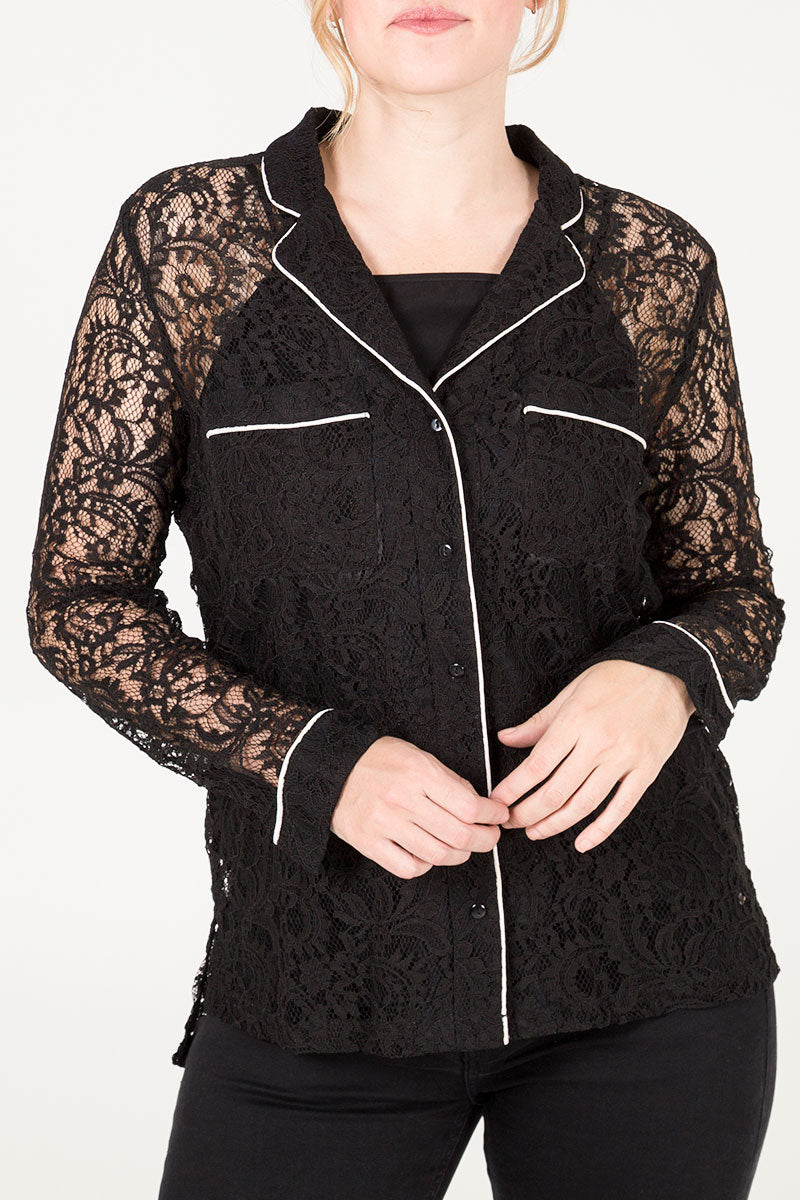 Lace Piped Shirt