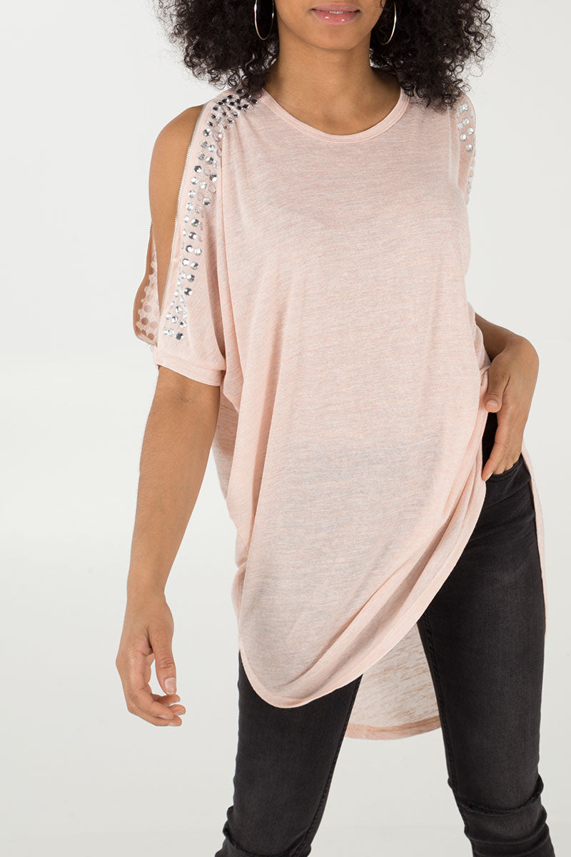Bling Cold Shoulder Batwing Top