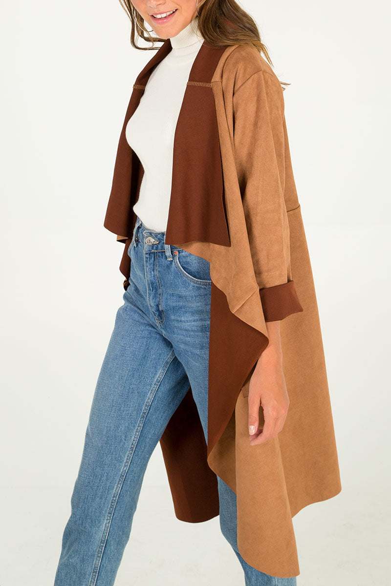Long Suede Waterfall Jacket