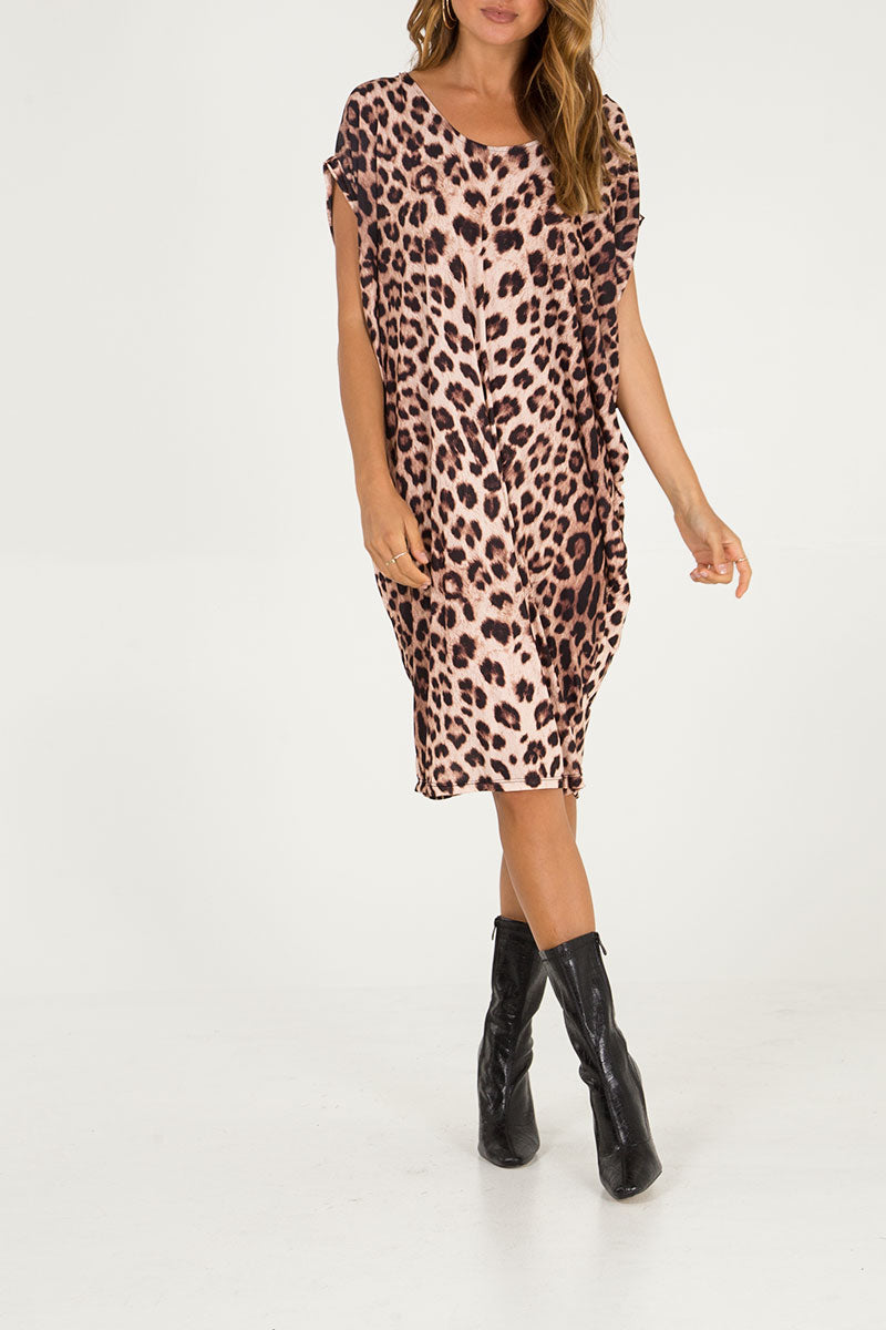Leopard Print Scoop Back Dress