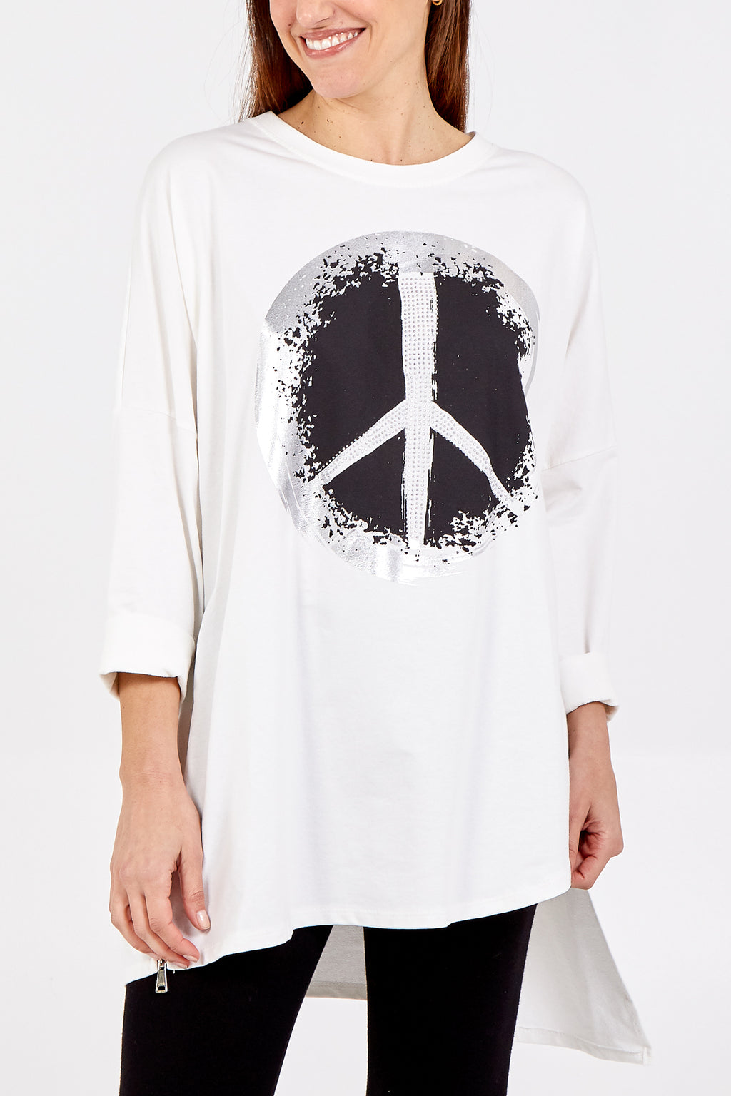 High Low Peace Sign Top