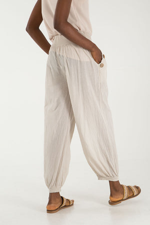 Button Pocket Detail Harem Pants