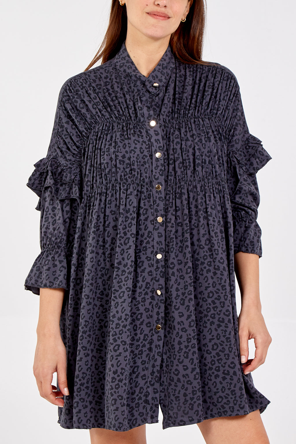 Leopard Small Print Ruffle Sleeve Button Up Smock Dress
