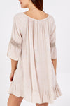 Scoop Neck Frill Hem & Sleeve Dress