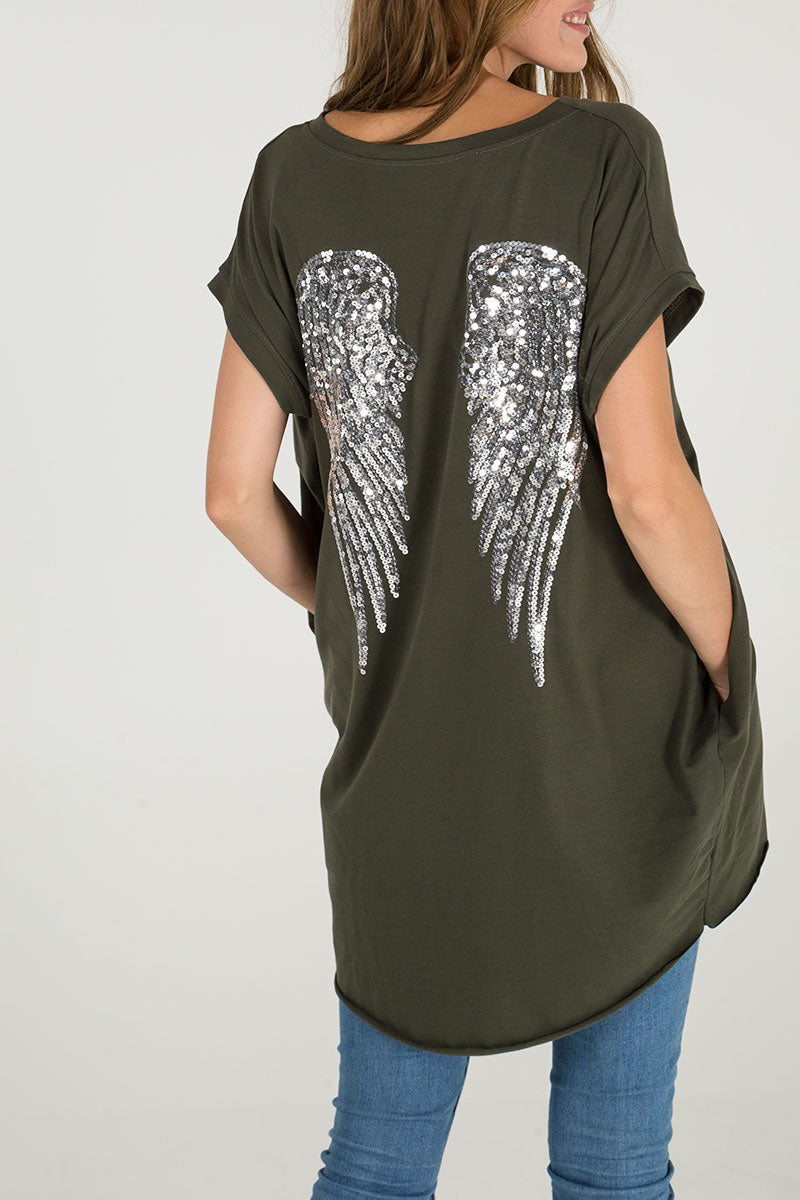 Angel Wing Two Pocket Oversized Tee