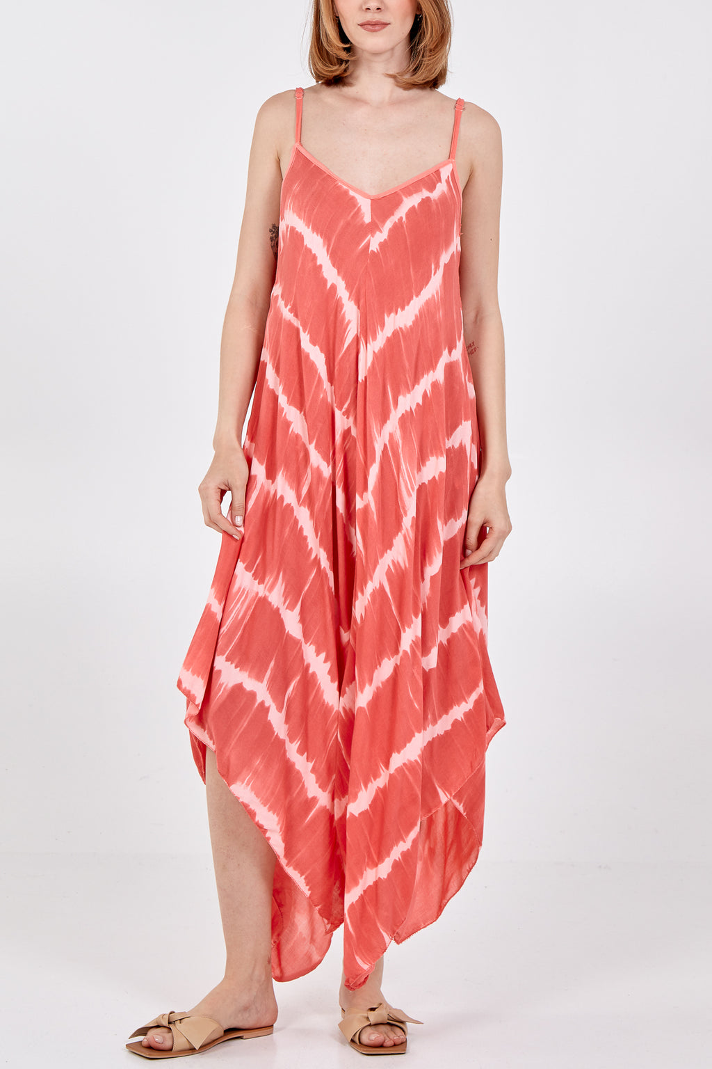 Tie Dye Adjustable Straps Midi Dress