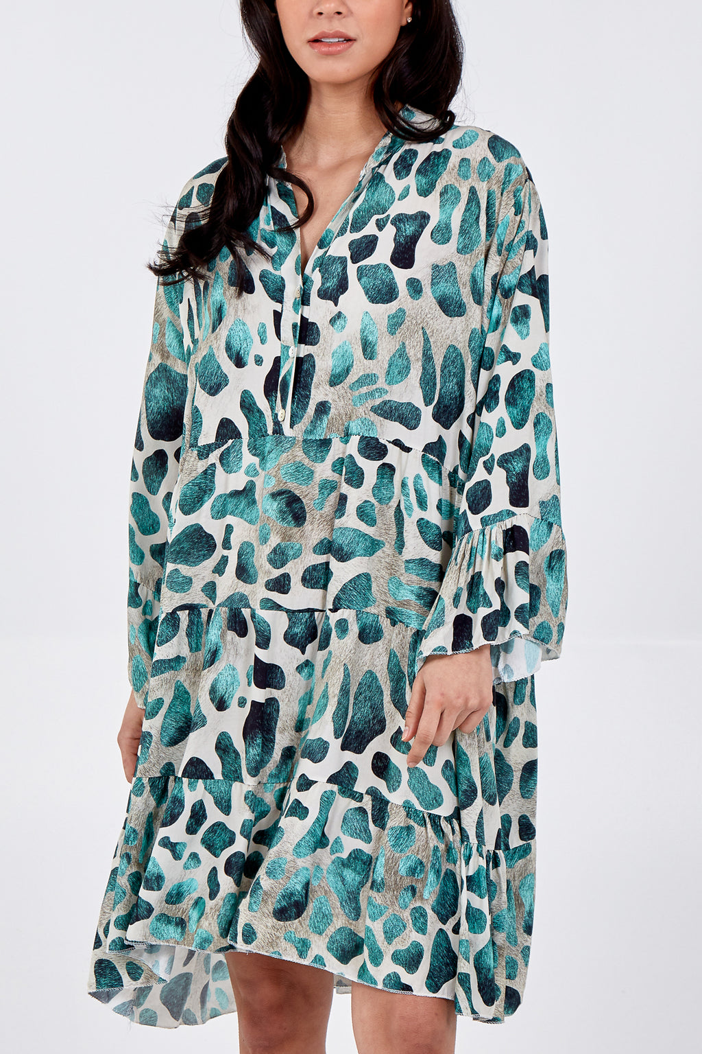 Long Sleeve Abstract Tiered Smock Dress