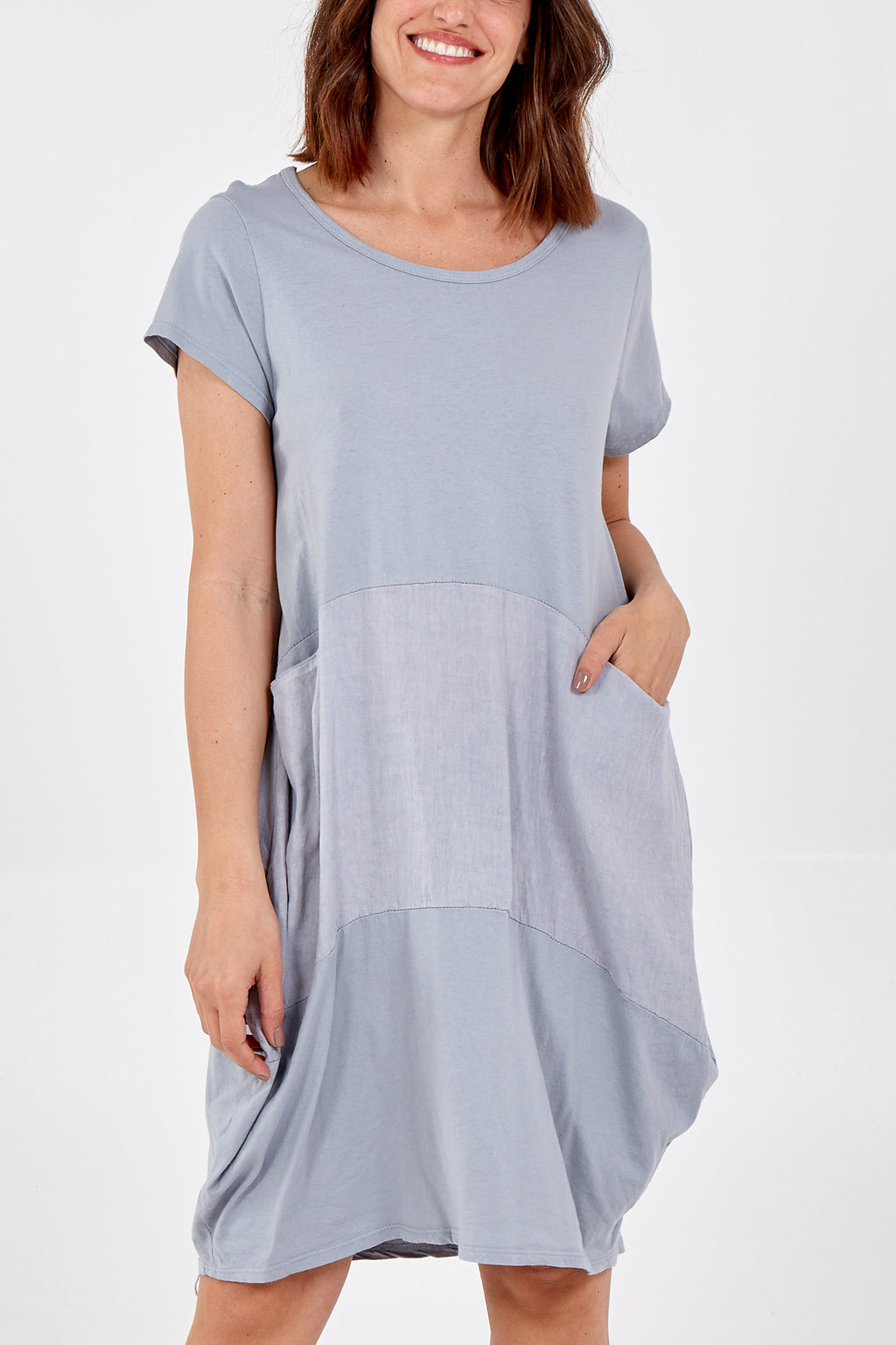 Jersey and Linen Two Pocket Detail Dress