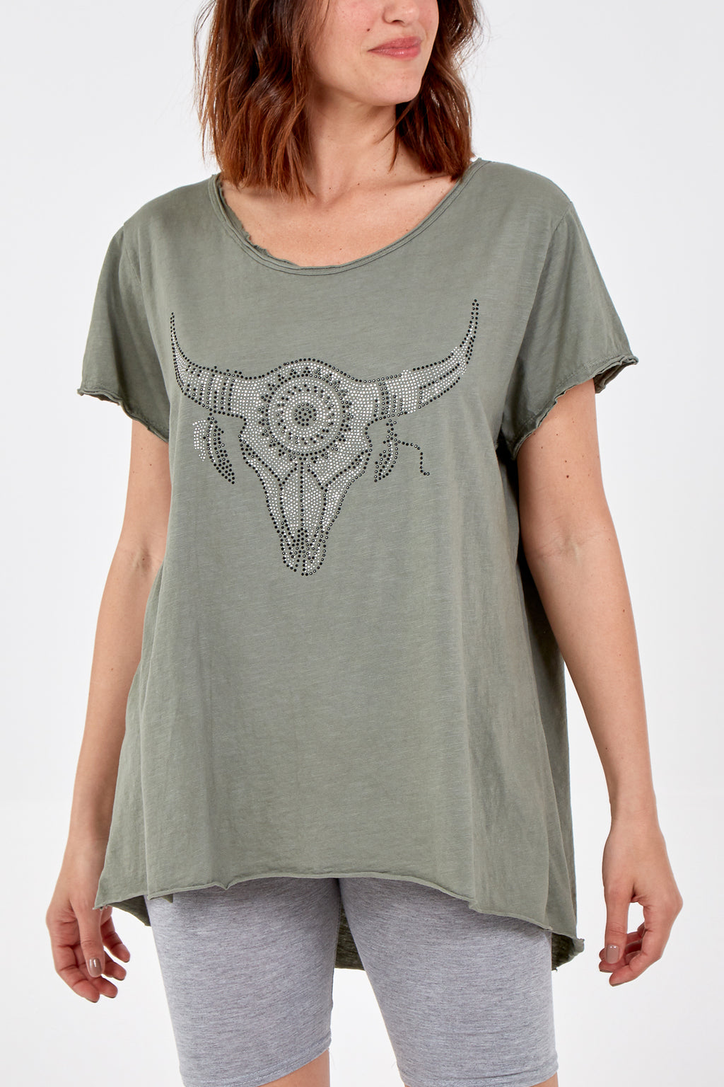 Sequin Bull Scoop Neck Top