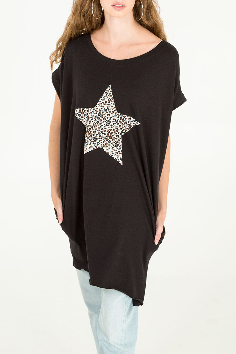 Leopard Star Two Pocket Oversized Tee
