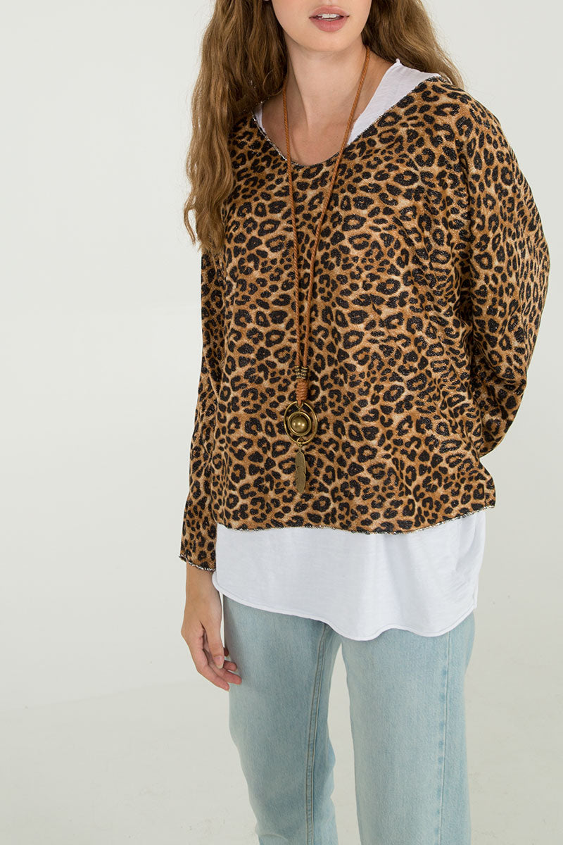 2 In 1 Leopard Necklace Top