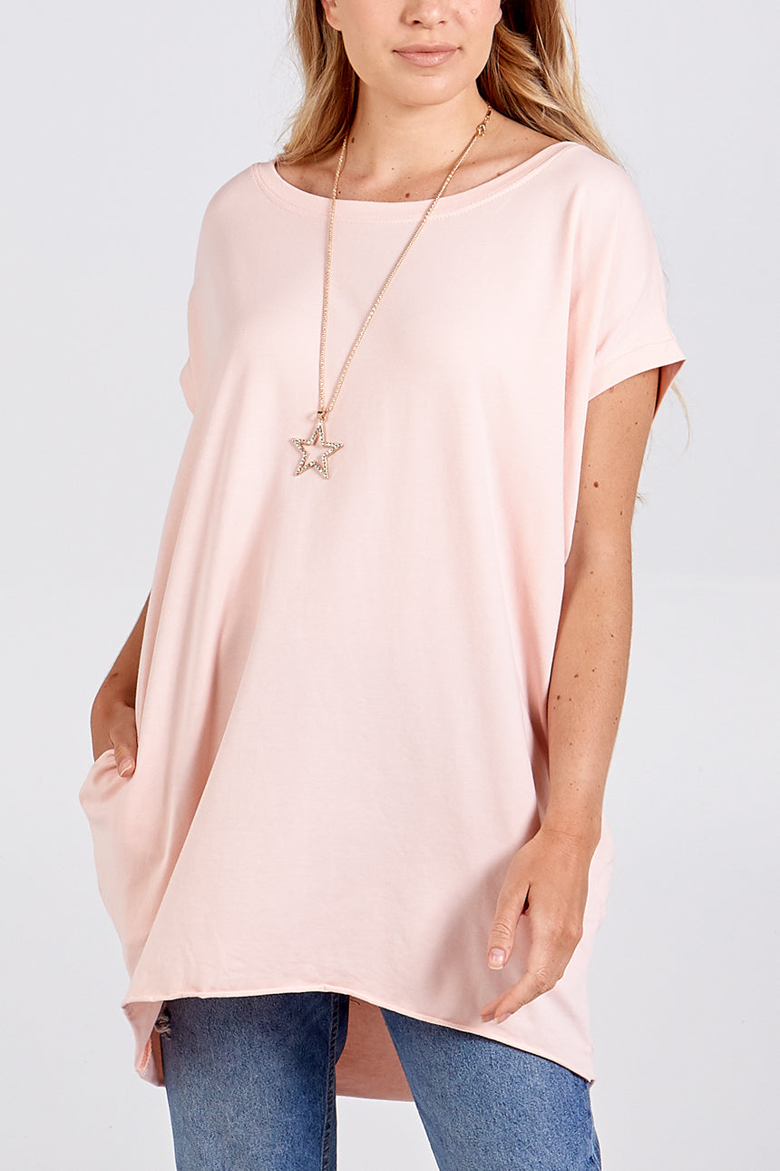 Two Pocket Oversized Necklace Top