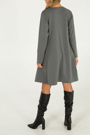 Patch Pocket Swing Dress