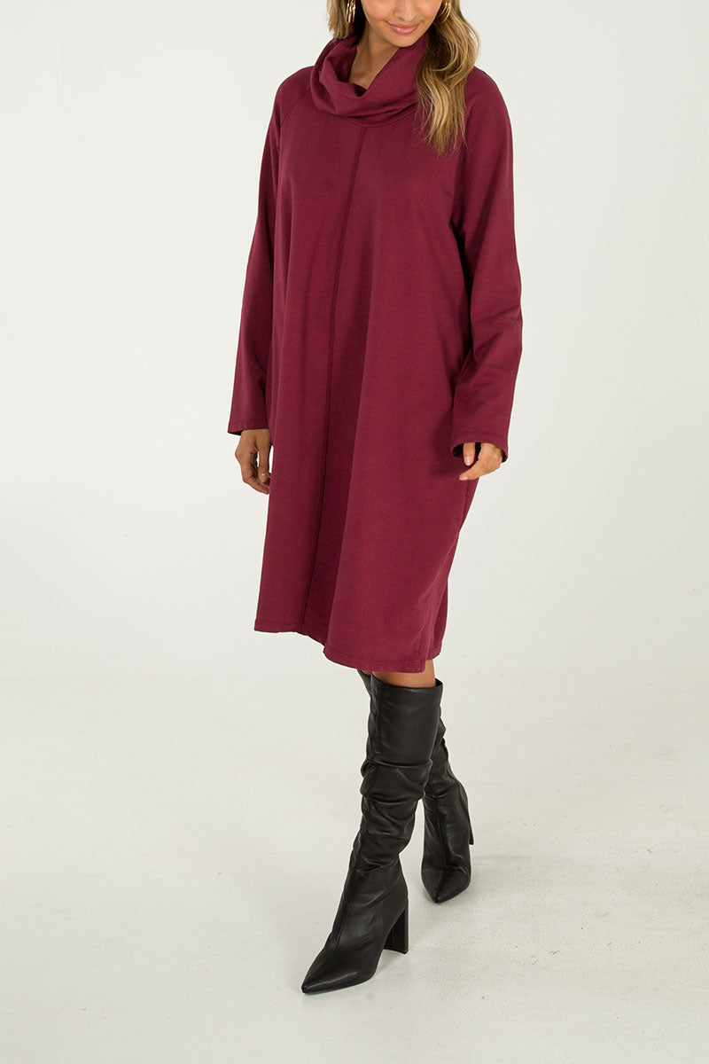 Roll Neck Two Pocket Tunic Dress