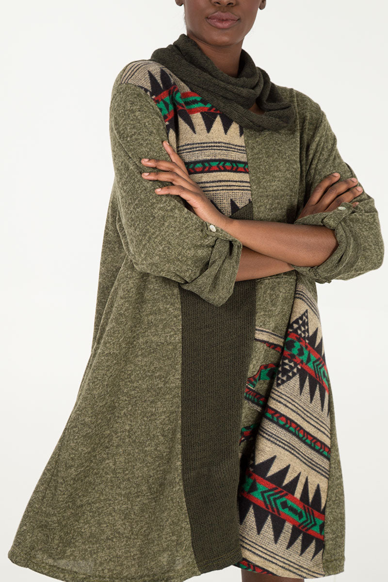 Aztec Panel Cowl Neck Dress