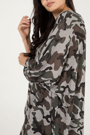 Oversized High Low Camouflage Top