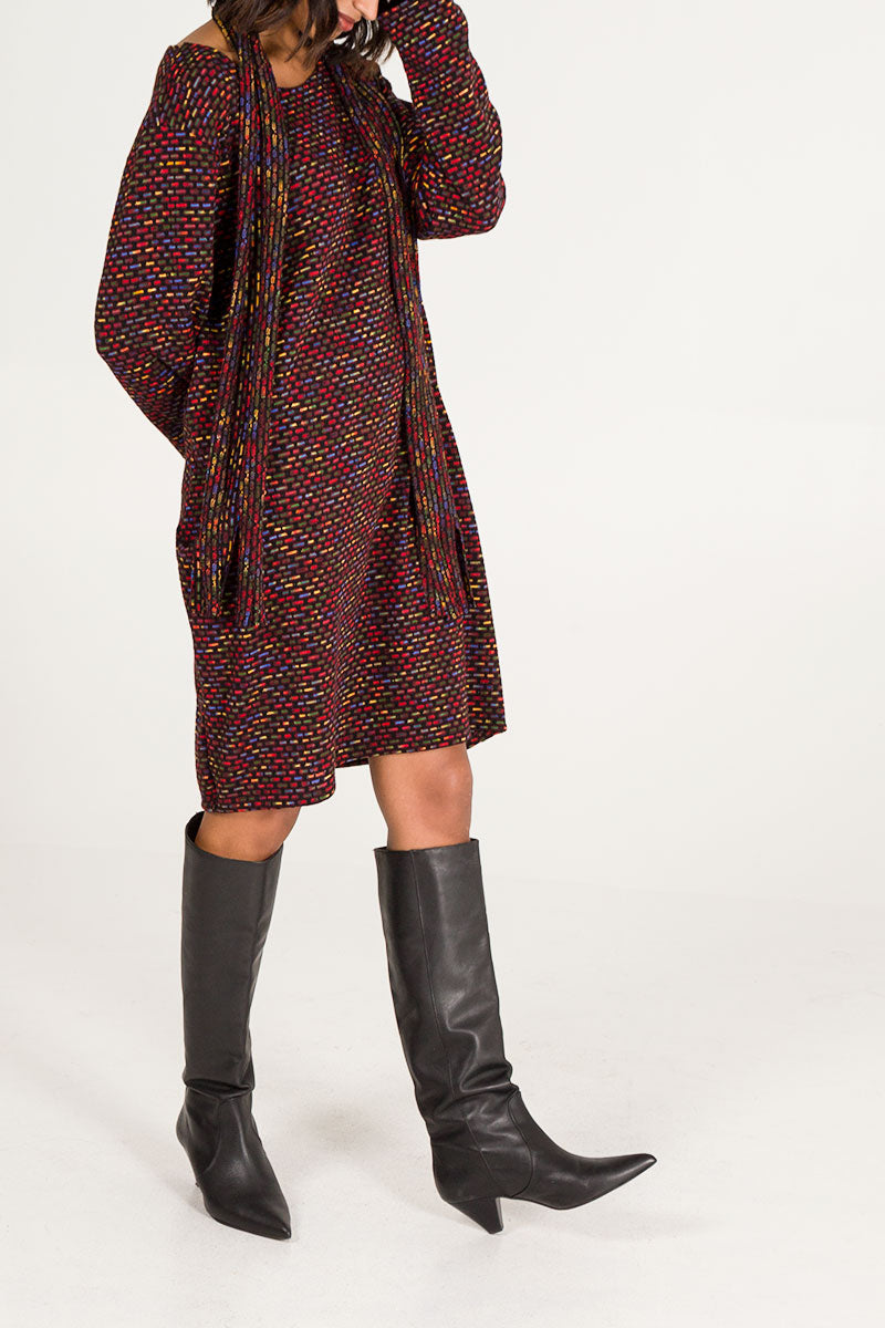 Multi Colour Matching Scarf Jumper Dress