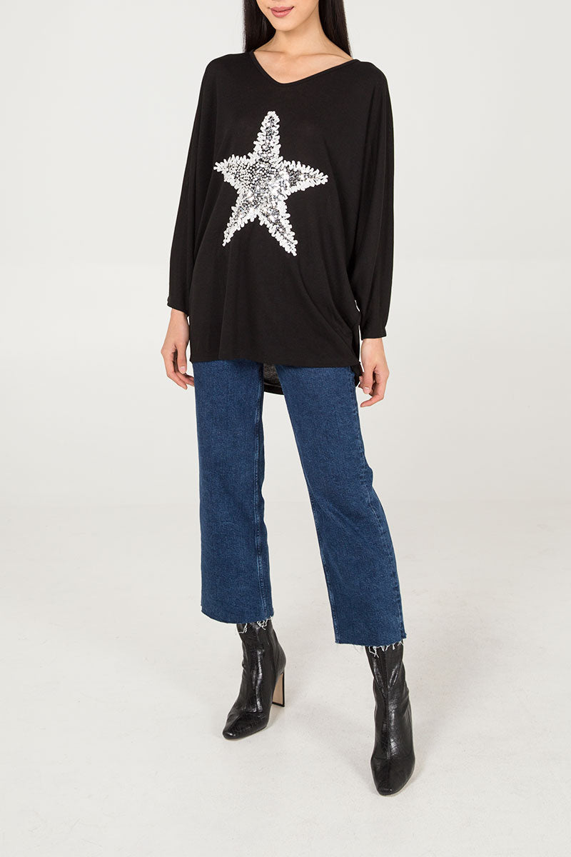 Sequin Star Oversized Top