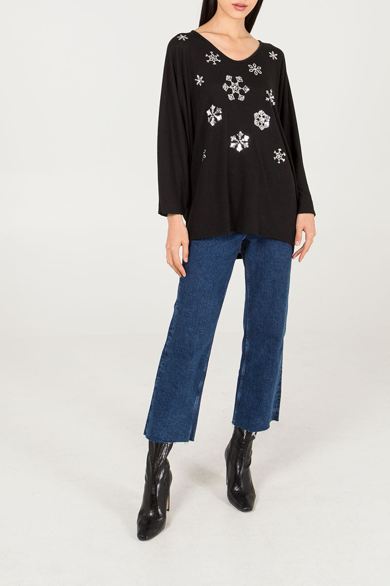 Sequin Snowflake Oversized Top