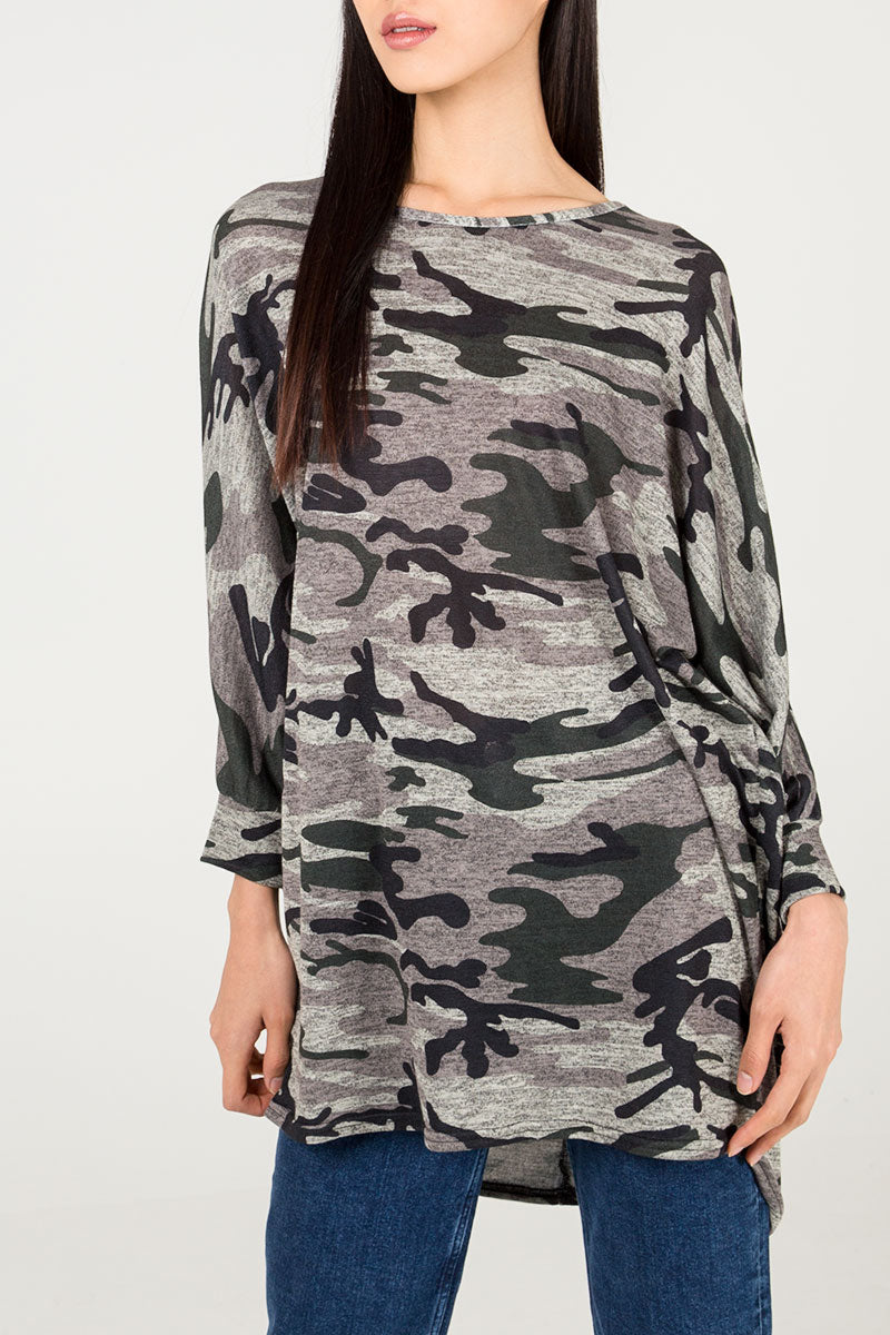 Oversized Camouflage Top