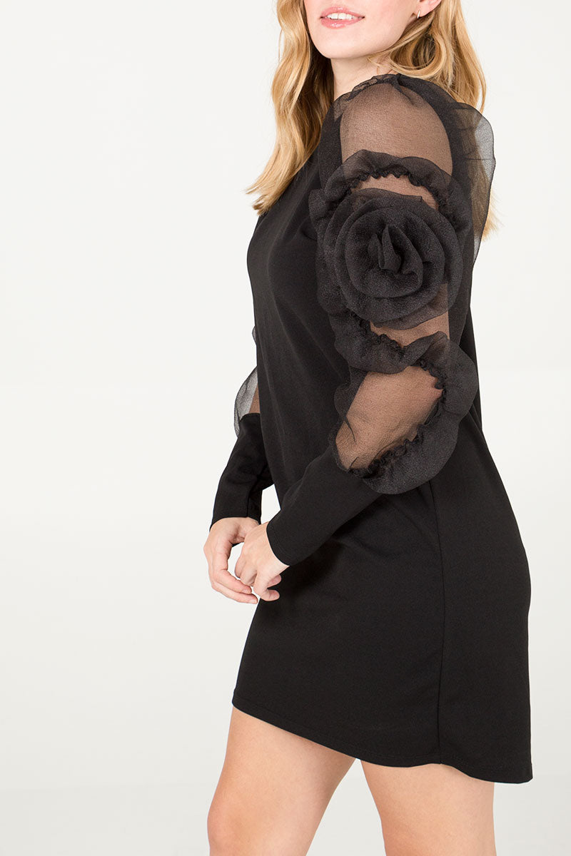 Organza Flower Sleeve Dress