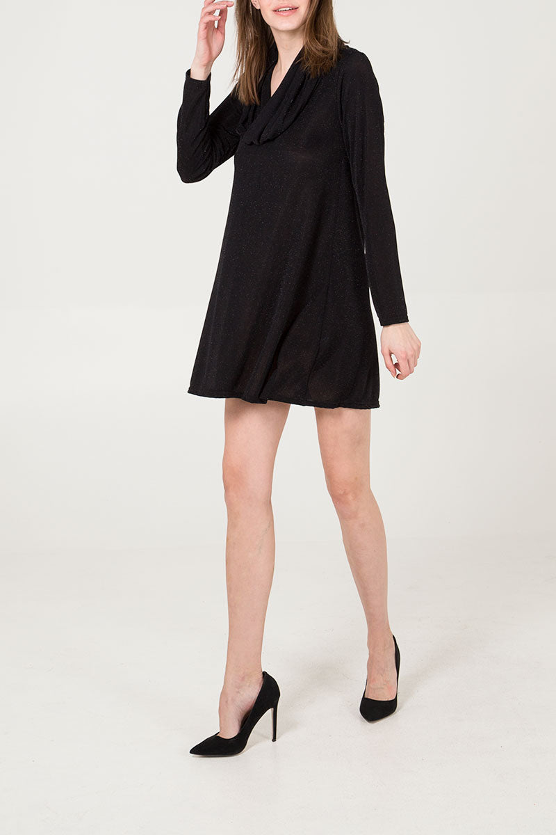 Cowl Neck Lurex Dress