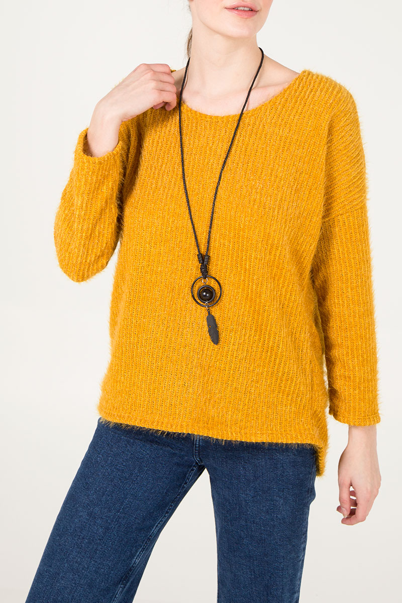 Eyelash Knit Necklace Jumper