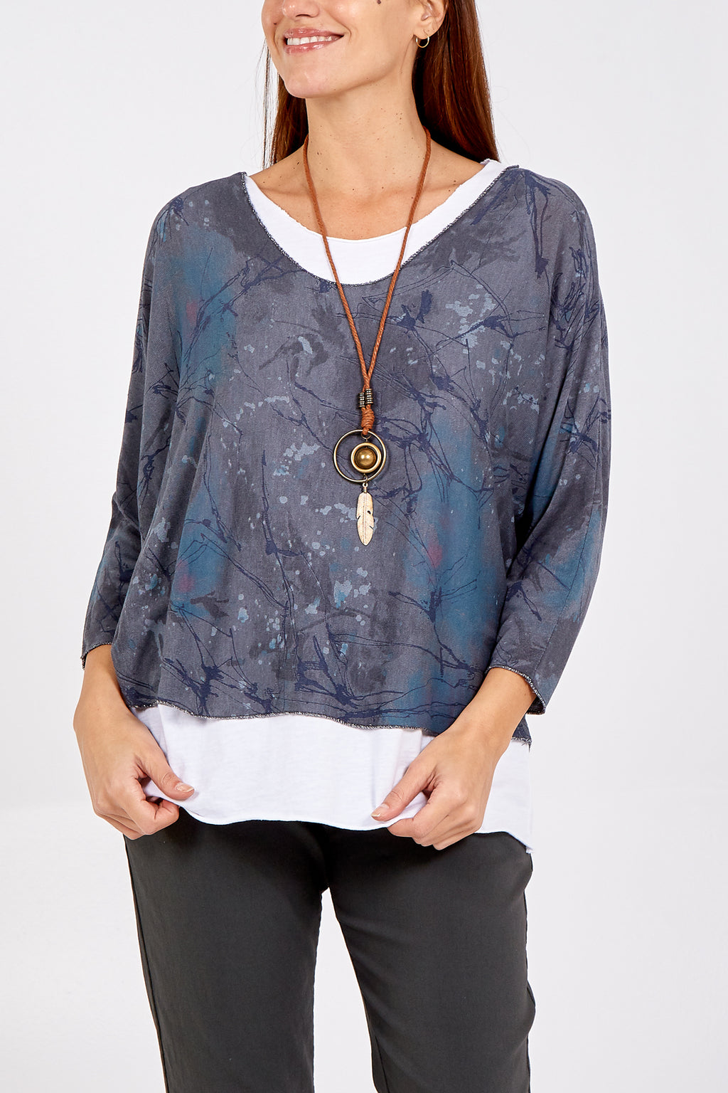Abstract Print Two In One Necklace Top