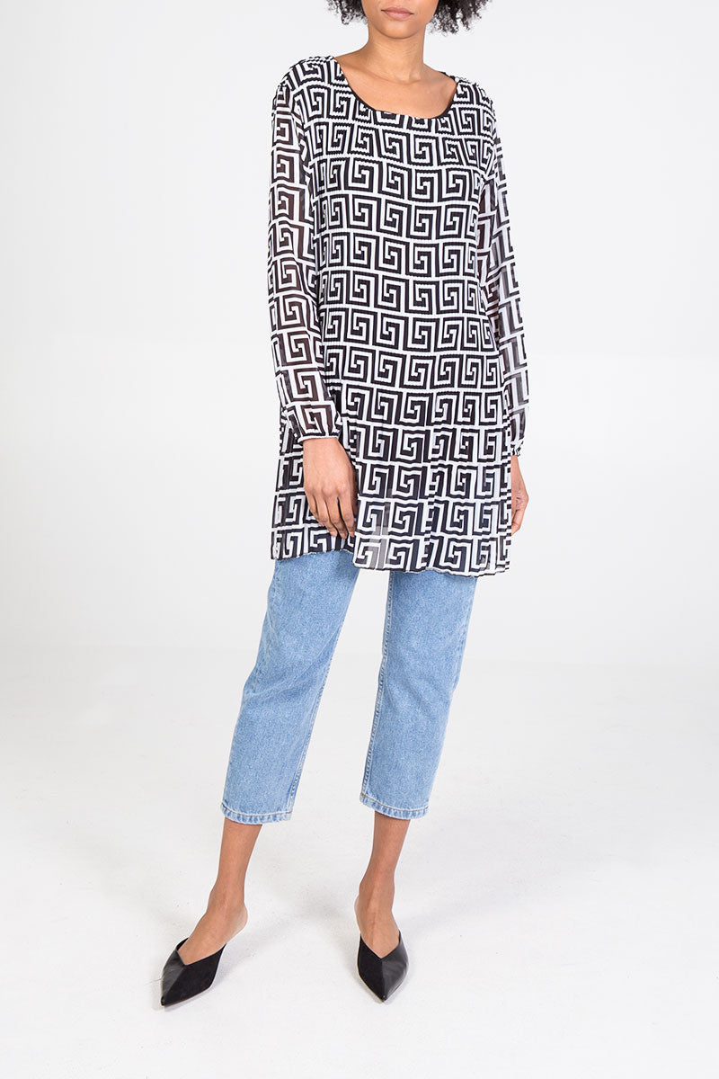Abstract Print Plisse Tunic